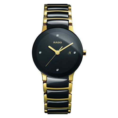 Rado Centrix Diamonds Damenuhr S mit Diamanten Schwarz Gold Keramik Quarz 28mm Jubile R30930712