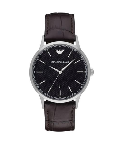 Emporio Armani Herrenuhr schwarz 43mm Quarz Leder-Armband | Uhren-Lounge