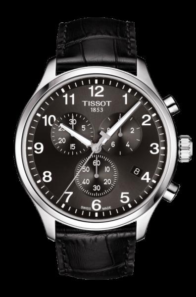 Tissot Chrono XL Classic Schwarz Leder-Armband Herrenuhr Chronograph Quarz 45mm T116.617.16.057.00