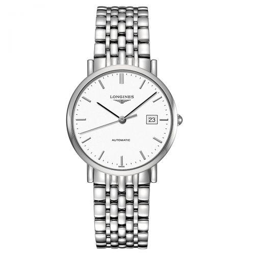 Longines Elegant Collection Damenuhr Automatik 37mm Silber Weiß Edelstahl-Armband L4.810.4.12.6
