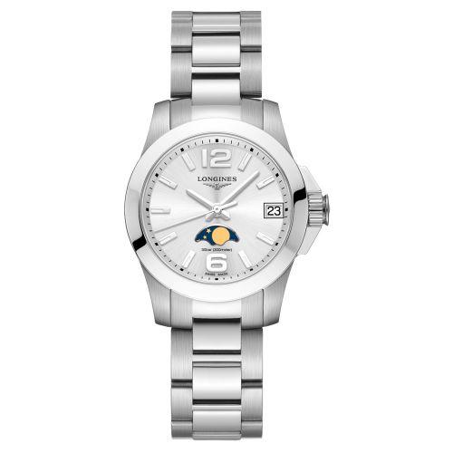 Longines Conquest Mondphase Damenuhr 29,5mm Silbern Edelstahl-Armband Quarz L33804766