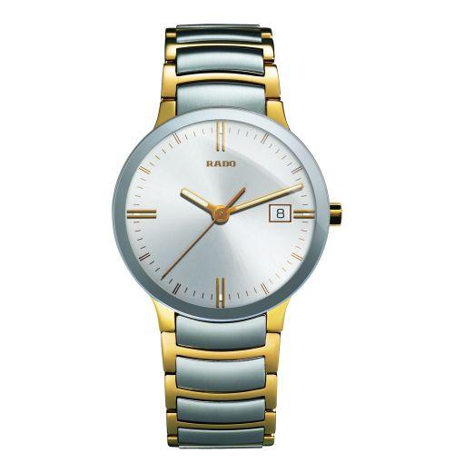 Rado Centrix L Herrenuhr Quarz Bicolor Silber Gold Edelstahl-Armband 38mm R30931103   Uhren-Lounge