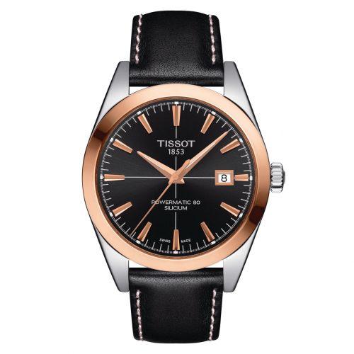 Tissot Gentleman Powermatic 80 Silicium 18K Gold Rosegold Schwarz Leder-Armband T927.407.46.051.00 | Uhren-Lounge