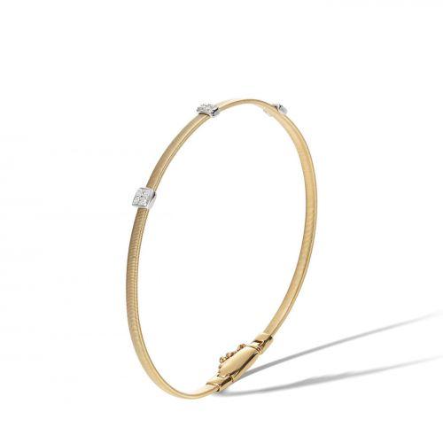 Marco Bicego Armreif Gold mit 3 Diamanten Paves Masai Armband BG730 B1 YW