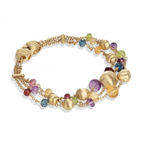 Marco Bicego Armband mit bunten Edelsteinen Gold 18 Karat 3 Stränge Africa Color BB2266 MIX02 Y