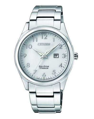 Citizen Damenuhr Super Titanium Eco Drive silber Zifferblatt weiß 34mm EW2470-87A