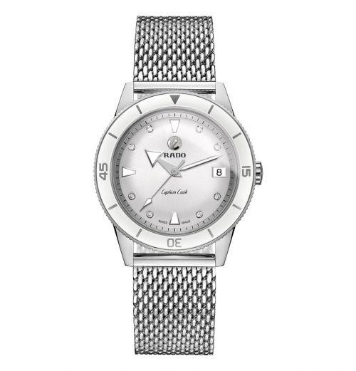 Rado Captain Cook Damenuhr mit Diamanten Silber Milanaise-Armband Automatic 37mm R32500703 | Uhren-Lounge