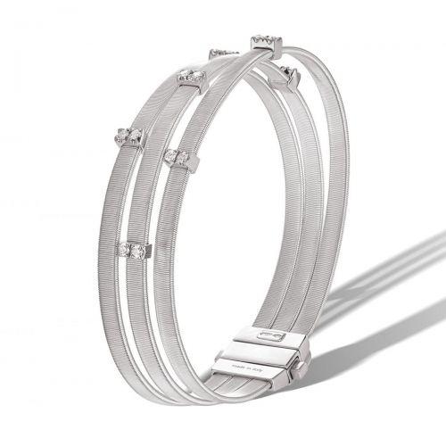 Marco Bicego Masai Armreif Weißgold mit Diamanten Paves 3 Stränge Armband BG805 B W