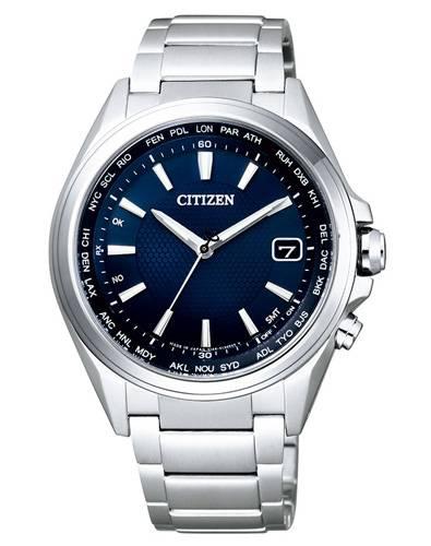 Citizen Elegant Herrenuhr 42mm Funkuhr aus silbernem Titanium mit blauem Zifferblatt Eco-Drive und Perpetual Calender CB1070-56L