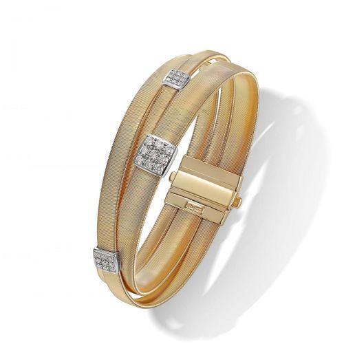 Marco Bicego Armreif Gold mit Diamanten Paves 3 Stränge Masai Armband BG733 B1 YW