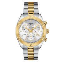 Tissot PR 100 Sport Chic Chronograph Bicolor Gold Silber Damenuhr Quarz 38mm T101.917.22.031.00 | Uhren-Lounge