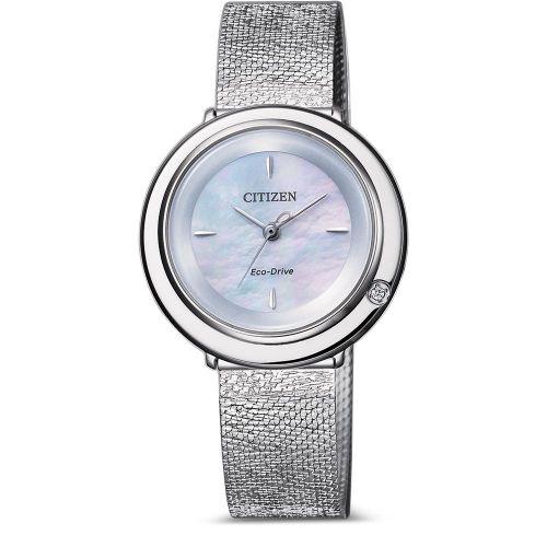 Citizen Elegance Uhr Damen Eco-Drive mit Diamant am weiß blau schimmerndem Zifferblatt EM0640-82D