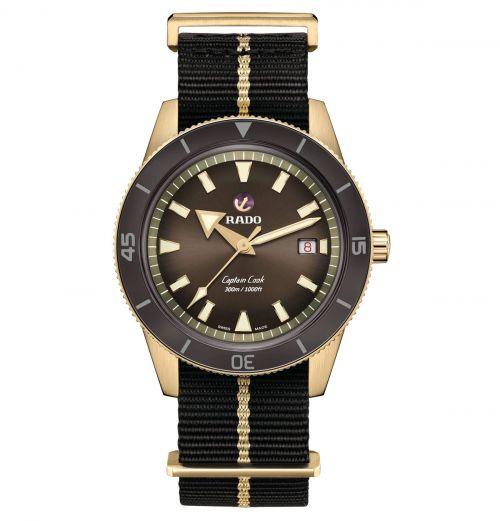 Rado Captain Cook Bronze Braun Nato-Textil-Armband Automatic XL 42mm Herrenuhr R32504307
