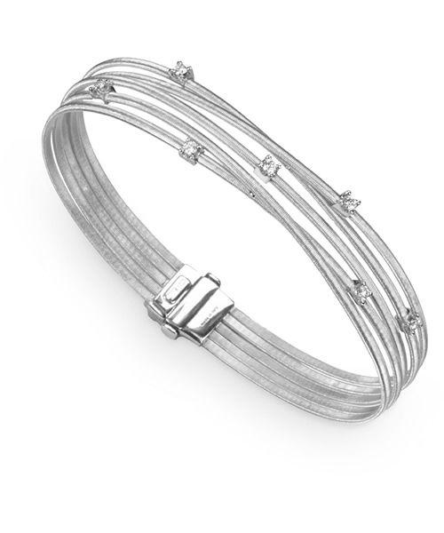 Marco Bicego Armreif Goa Weißgold mit Diamanten 5 Stränge Armband BG618 B W
