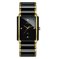Rado Integral Diamonds L Herrenuhr Schwarz Gold Diamanten Keramik Quartz R20204712 | Uhren-Lounge