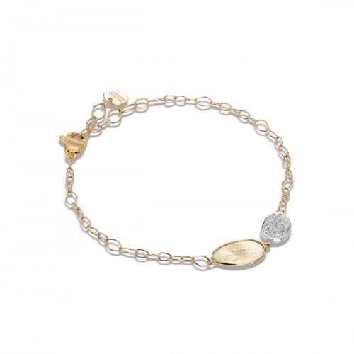 Marco Bicego Lunaria Mini Armband mit Diamanten Pavé Gold 18 Karat BB2591 B YW