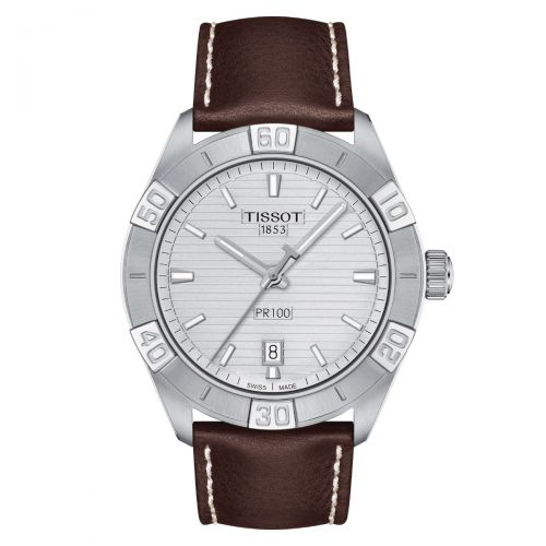Tissot PR 100 Sport Gent Herrenuhr 42mm Silber Leder-Armband Quarz T101.610.16.031.00