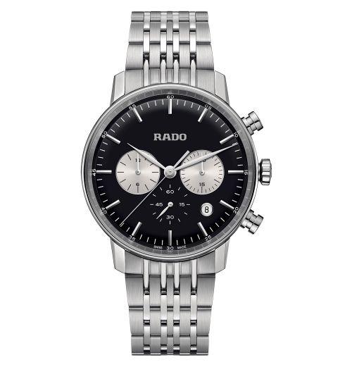 Rado Coupole Classic Chronograph Quarz Herrenuhr 42mm Silber Schwarz Edelstahl-Armband R22910153 | Uhren-Lounge