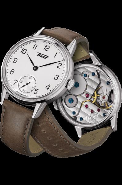 Mechanische Uhr mit Handaufzug 42mm silber mit braunem Leder-Armband Tissot Heritage Petite Seconde T1194051603701