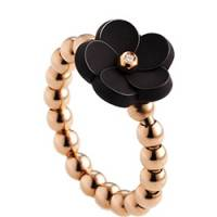 Meissen Porzellan Ring Schwarz Rosegold Diamant MFJ10BS12800