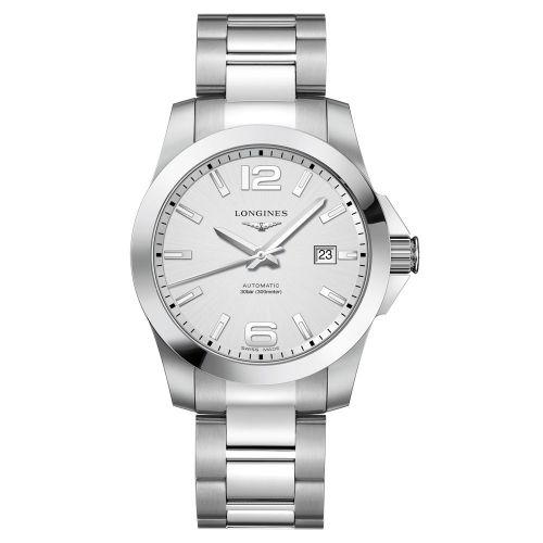 Longines Conquest Automatik 41mm Silbern Edelstahl-Armband Herrenuhr L3.777.4.76.6