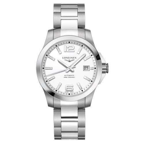Longines Conquest Automatik 39mm Silber mit weißem Zifferblatt & Edelstahl-Armband Herrenuhr L3.776.4.16.6