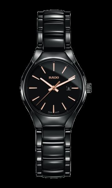 Rado True S Damenuhr 30mm aus Keramik mit schwarzen Zifferblatt (R27059162)