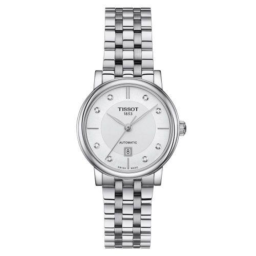 Tissot T-Classic Damenuhr mit Diamanten Silber mit weißem Zifferblatt & Edelstahl-Armband Carson Premium Automatic Lady 30 mm T1222071103600
