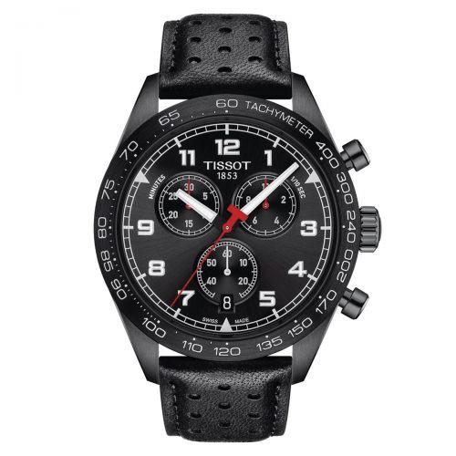 Tissot PRS 516 Chronograph Herrenuhr 45mm Schwarz Leder-Armband Quarz T131.617.36.052.00