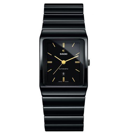 Rado Automatik Uhr Damen & Herren Schwarz mit goldenen Zeigern und Keramik-Armband Ceramica Automatic L R21807182