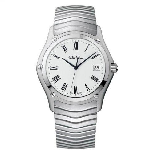 Ebel Herrenuhr Classic Silbern Weiß mit römischen Ziffern Edelstahl-Armband Quarz 37mm 1215438