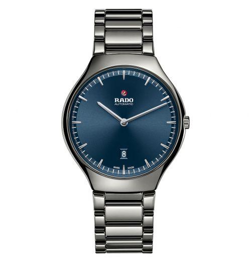 Rado True Thinline Automatic Grau Blau Keramik Uhr Herren & Damen 40mm R27088202 | Uhren-Lounge