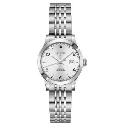 Longines Record collection Damenuhr 30 mm Silbern mit arabischen Ziffern & Edelstahl-Armband COSC Chronometer L2.321.4.76.6