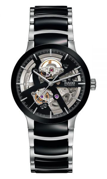 Rado Centrix Automatic Open Heart Bicolor Schwarz Silber Keramik-Armband 38mm R30178152 | Uhren-Lounge