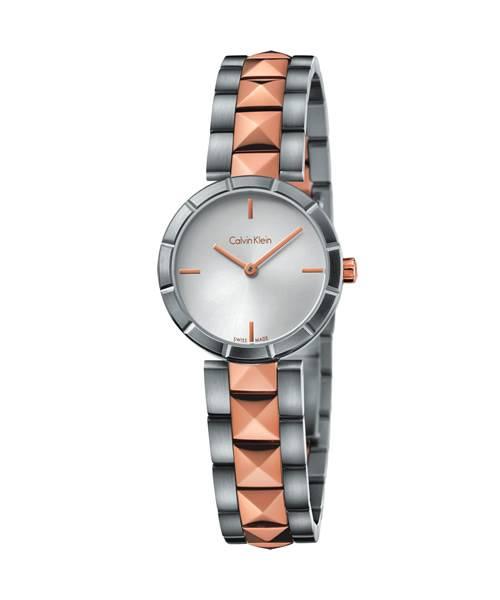 Calvin Klein Damenuhr Rosegold Silber Bicolor 30mm Quarz Edelstahl-Armband edge K5T33BZ6 | Uhren-Lounge