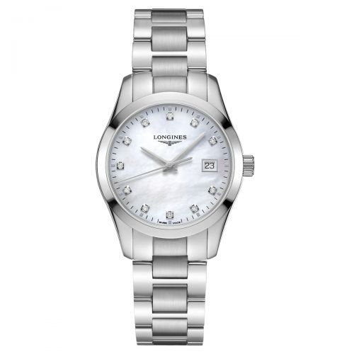 Longines Conquest Classic Damenuhr Perlmutt-Zifferblatt & Diamanten Silber 34mm Quarz L2.386.4.87.6
