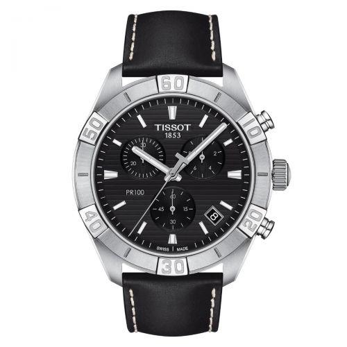 Tissot PR 100 Sport Gent Chronograph Herrenuhr 44mm Schwarz Leder-Armband Quarz T101.617.16.051.00