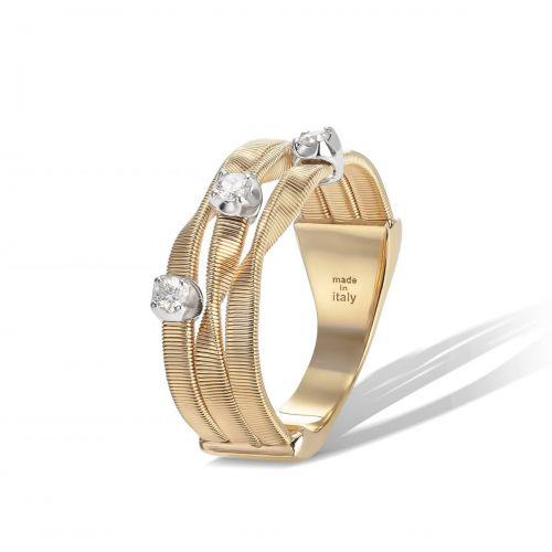 Marco Bicego Ring Marrakech Gold mit Diamanten 3 Stränge 18 Karat AG158 B YW