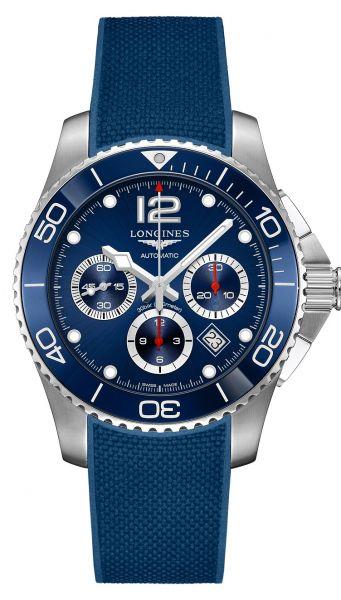 Longines HydroConquest Chronograph 43mm Automatic Blau Kautschuk-Armband L3.883.4.96.9 | Uhren-Lounge