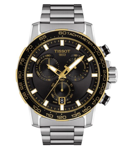 Tissot Supersport Chrono Silber Schwarz Edelstahl-Armband Chronograph 45mm Quarz T125.617.21.051.00