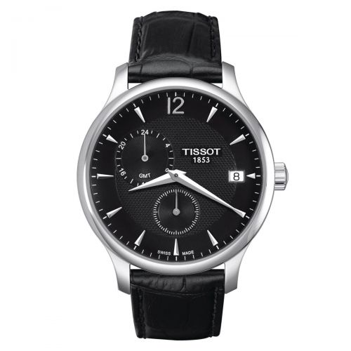 Tissot Tradition GMT Herrenuhr 42mm Quarz Schwarz Leder-Armband T063.639.16.057.00