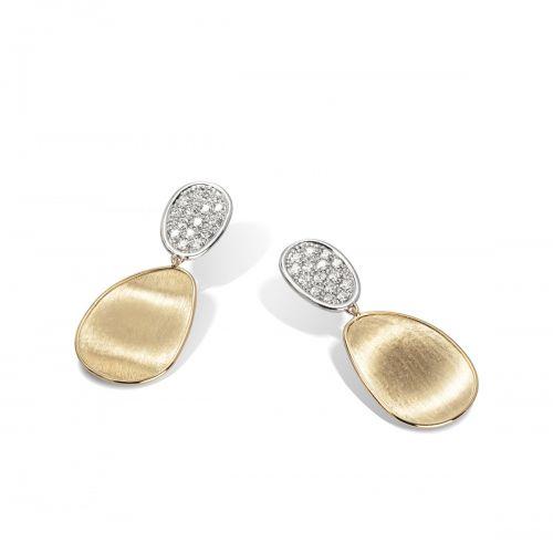Marco Bicego Lunaria Ohrringe mit Diamanten Pavé Gold 18 Karat Small OB1432 B YW