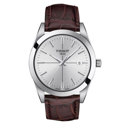Tissot Gentleman Silbern mit braunem Leder-Armband Quarz Herrenuhr 40mm T127.410.16.031.01