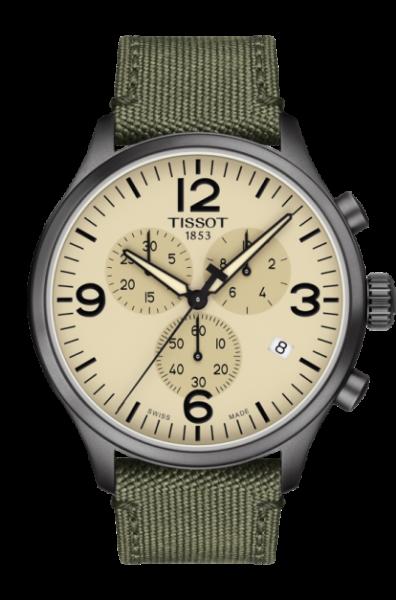 Tissot Chrono XL Beige Grün Textil-Armband Herrenuhr Chronograph Quarz 45mm T116.617.37.267.00