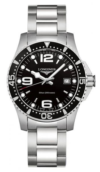 Longines HydroConquest 41mm Schwarz Quarz Herrenuhr mit Edelstahl-Armband L3.740.4.56.6   Uhren-Lounge