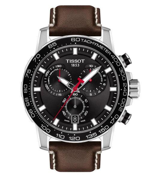 Tissot Supersport Chrono Schwarz Leder-Armband Braun Chronograph 45mm Quarz T125.617.16.051.01 | Uhren-Lounge