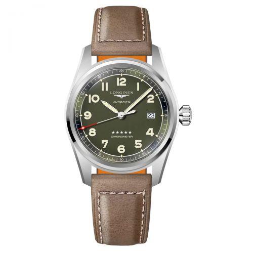 Longines Spirit 40mm Grün Leder-Armband Herrenuhr Automatic L3.810.4.03.2