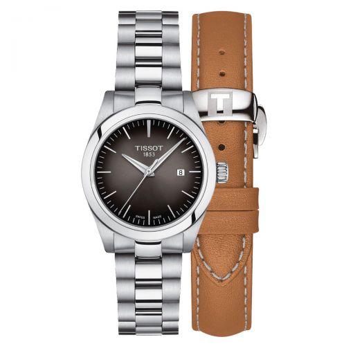 Tissot T-My Lady Damenuhr 29mm Quarz Silber Anthrazit Edelstahl- & Leder-Armband T132.010.11.061.00