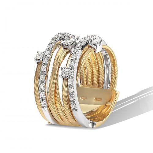 Marco Bicego Goa Ring mit Diamanten Gold 18 Karat 7 Stränge AG277 B2 YW