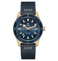 Rado Captain Cook Automatic Bronze Blau Leder-Armband Herrenuhr XL 42mm R32504205   Uhren-Lounge